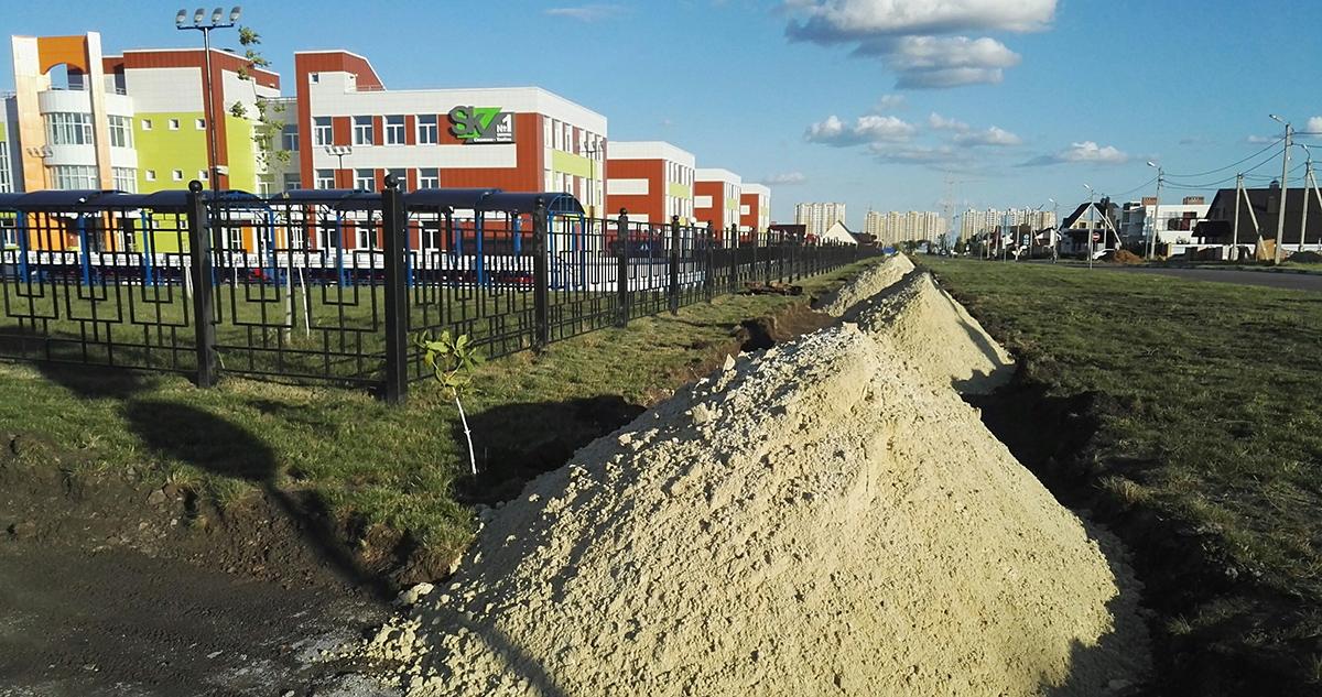 Строительство тротуаров Гвардейской