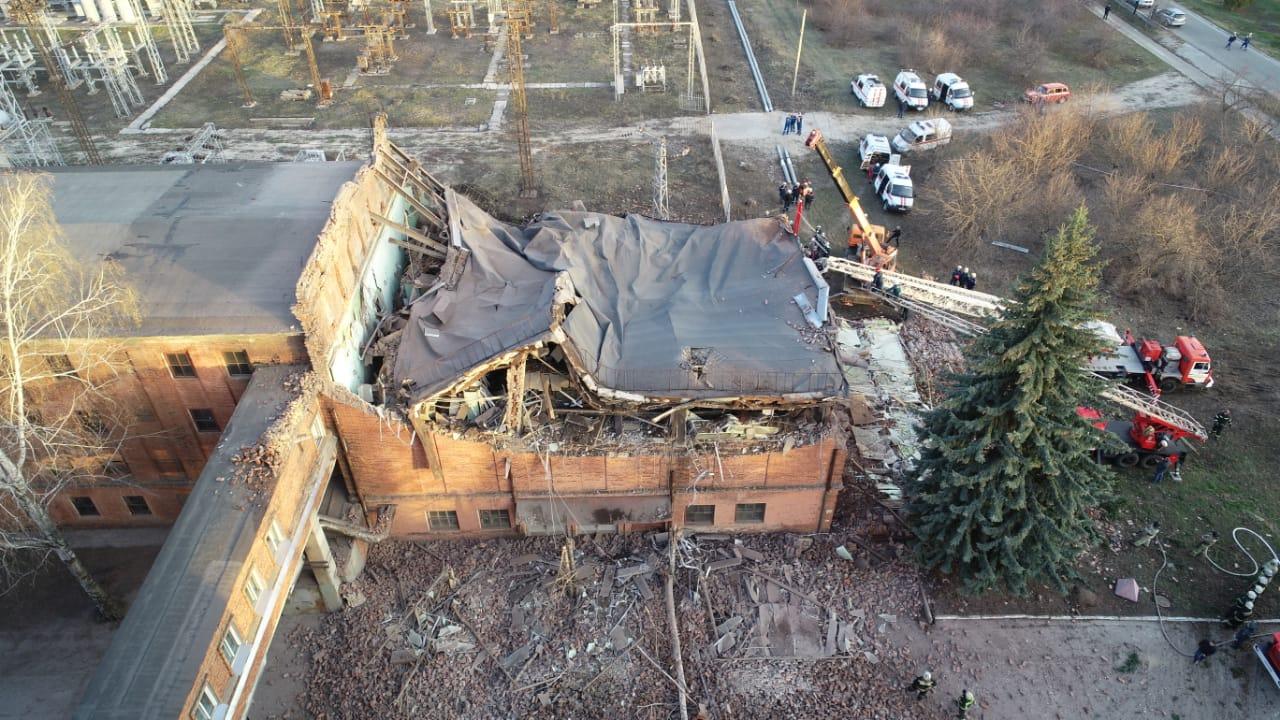 Обрушение диспетчерской на ТЭЦ, фото пресс-службы МЧС по Тамбовской области
