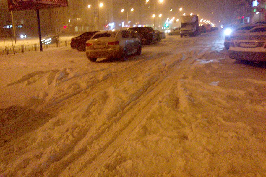 Дворы Московского после снегопада