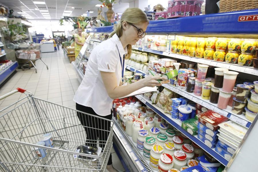 Отдел с продуктами в магазине