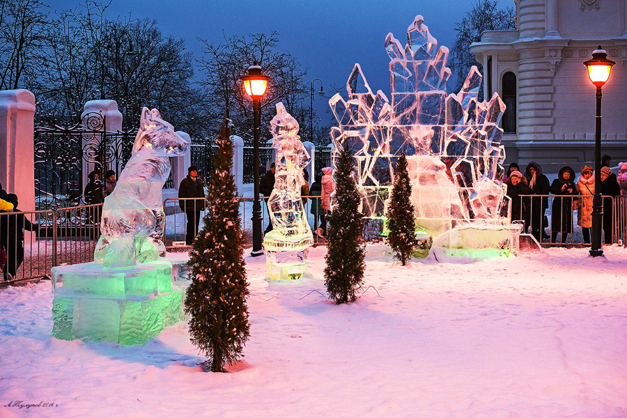 Выставка ледяных скульптур в Тамбовве