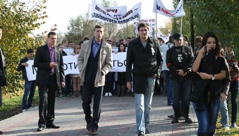Дмитрий Гудков на митинге студентов в Тамбове 7 октября 2012 года