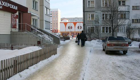 Гололед в Московском микрорайоне