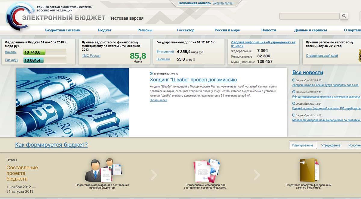 Скриншот с главной страницы портала