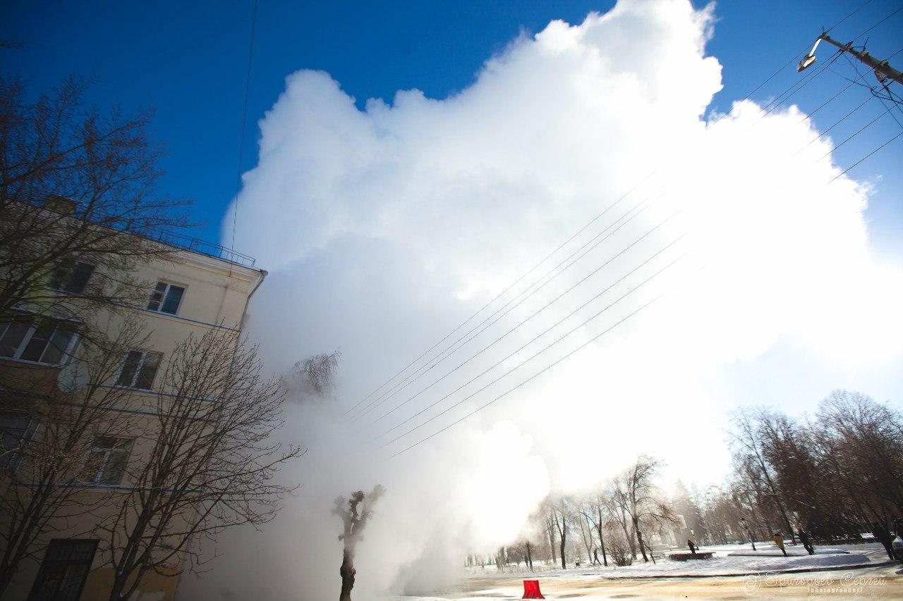 Прорыв теплотрассы на Степана Разина 31 января 2014 года