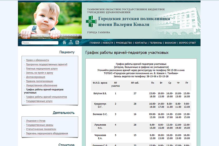 Скриншот с сайта Поликлиники им. В.Коваля
