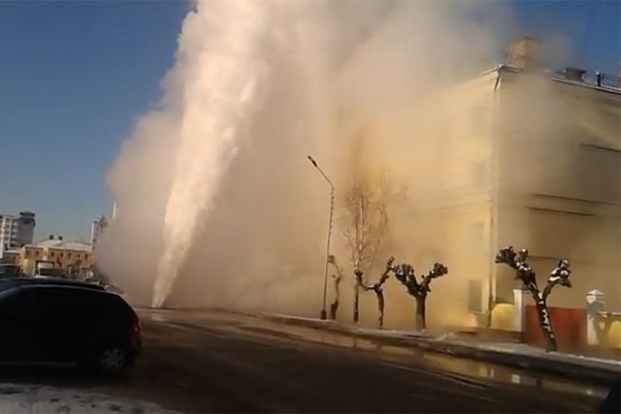 Прорыв трубопровода на Степана Разина 31.01.2014