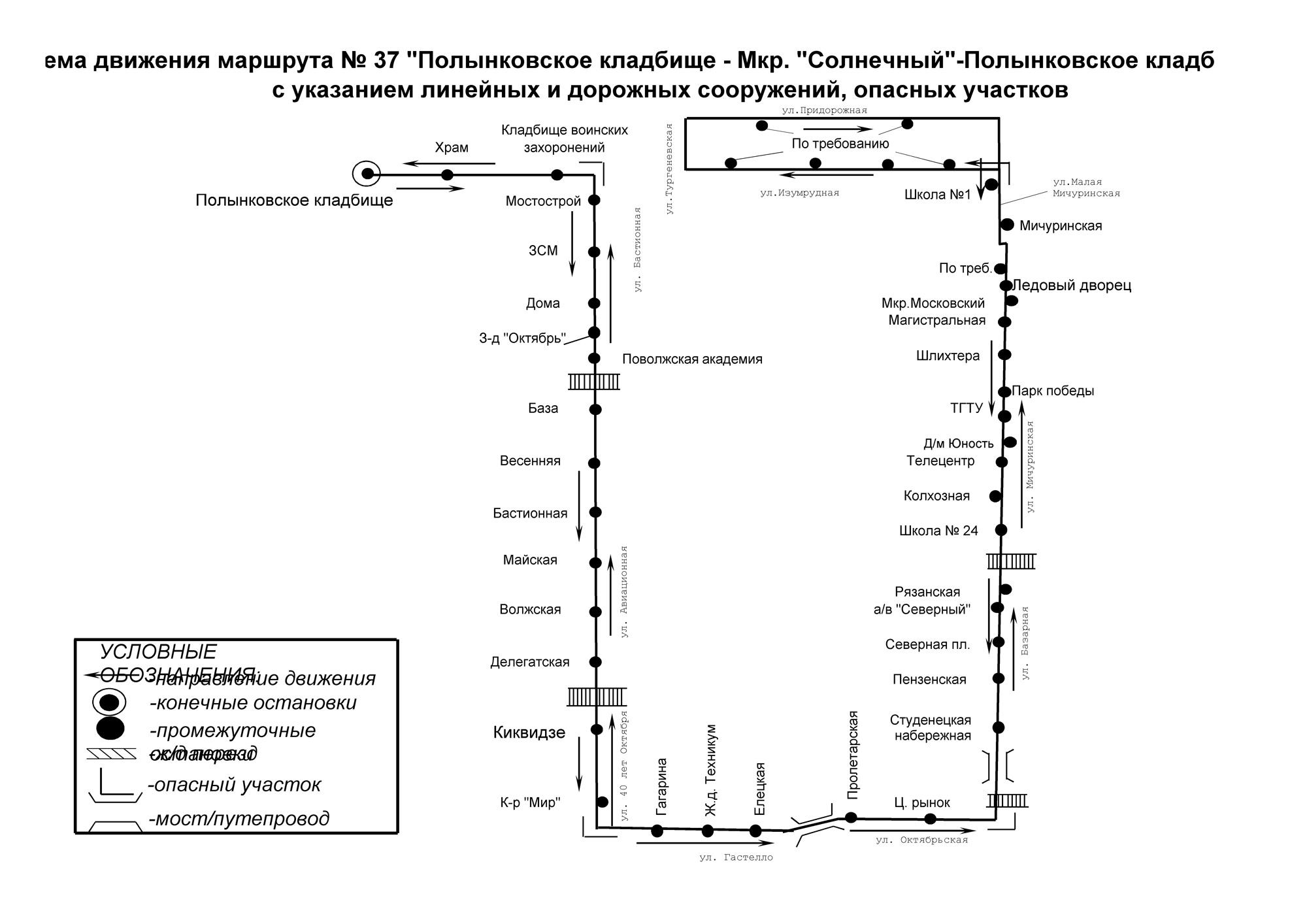 Схема движения автобуса №37