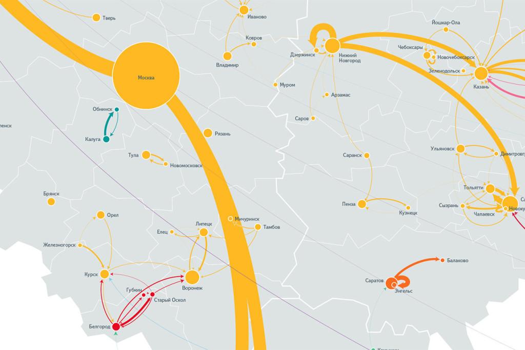 Поисковик Яндекс проанализировал интересную связи в запросах между городов.