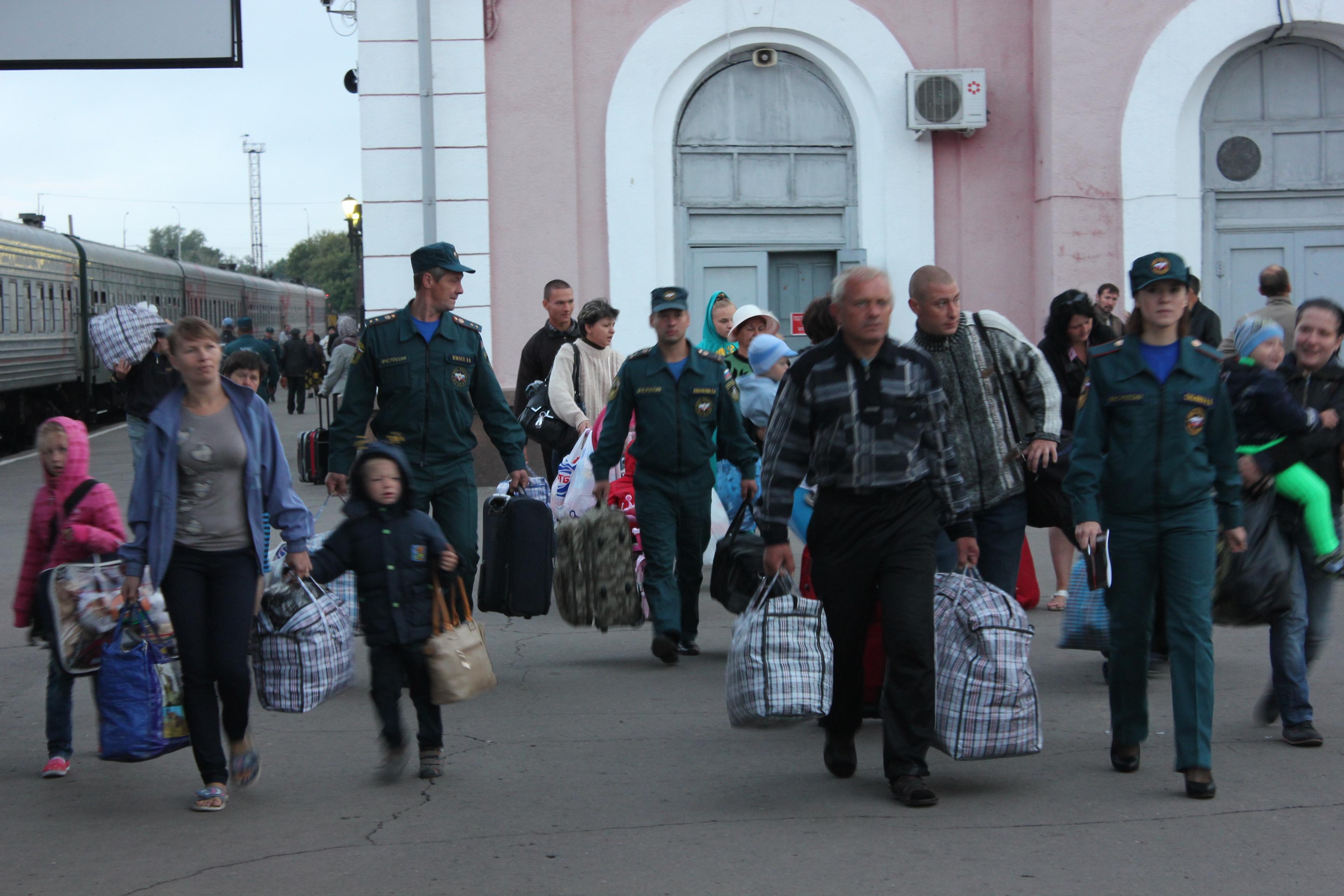 Приезд украинских беженцев в Тамбов. Фото МЧС Тамбовской области