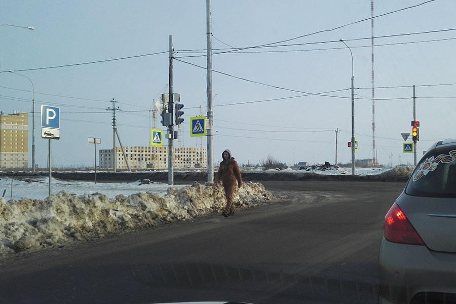 Пешеход идет прямо по проезжей части Агапкина